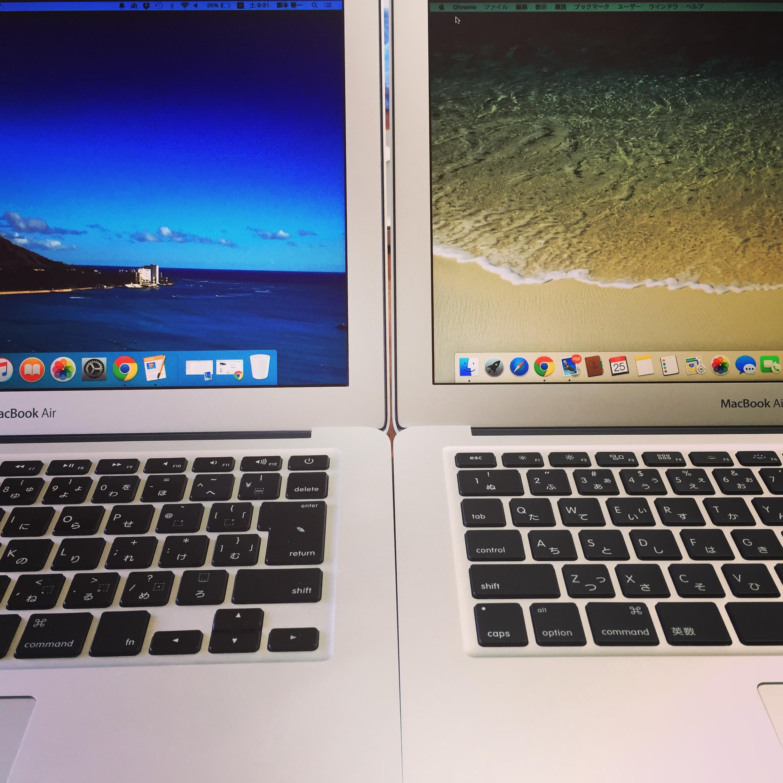 新旧二台のMacBook Airを並べたぼくのドヤリング